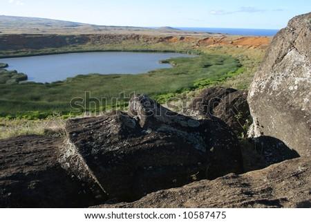 Ranu Raraku, Easter Island - stock photo