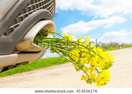 Rape flowers in a exhaust pipe - stock photo