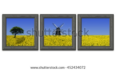Rapeseed field paintings on a white wall - stock photo