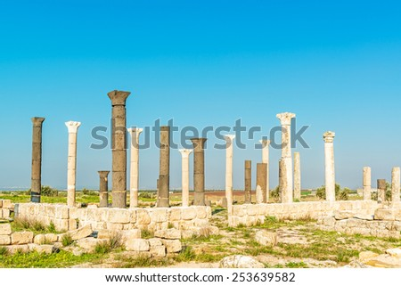 Raphana in present-day north of Jordan, was a city of the Decapolis. It is known as Qweilbeh. - stock photo