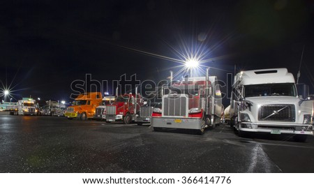 RAPHINE, VIRGINIA, USA - DECEMBER 21, 2015: Trucks parked at White's Travel Center in Raphine, Virginia on December 21, 2015. - stock photo