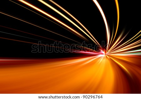 rapid race of night street - stock photo