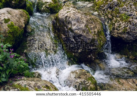 rapid stream with rocks and moss in Abkhazia - stock photo