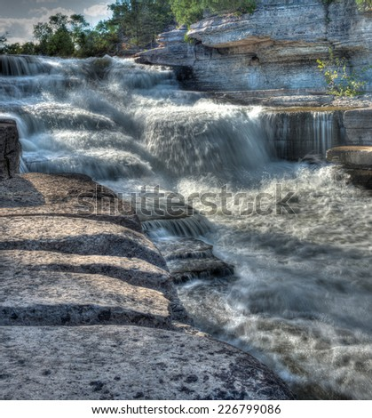 Rapids at the 4th chute near Eganville, Ontario Canada - stock photo