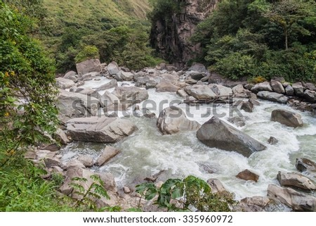 Rapids of Urubamba river near Aguas Calientes village, Peru - stock photo