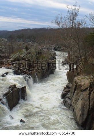 Rapids on the Potomac River, near the Great Falls outside of Washington, D.C. - stock photo