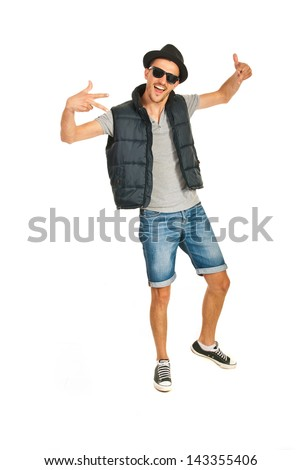 Rapper man dancing and gesticulate isolated on white background