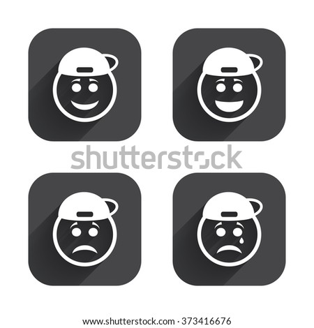 Rapper smile face icons. Happy, sad, cry signs. Happy smiley chat symbol. Sadness depression and crying signs. Square flat buttons with long shadow. - stock photo