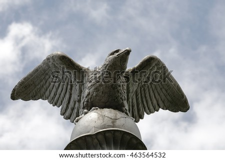 RAPPERSWIL, SWITZERLAND - MAY 10, 2016: The Eagle sculpture placed on the top of the Polish Column of Liberty it is a symbol of Swiss solidarity with nation who struggle for their freedom