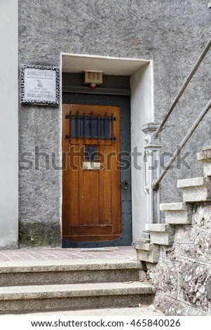 RAPPERSWIL, SWITZERLAND - MAY 10, 2016: The front door to the Library of the Polish Museum, which dates back to the 19th century. The current library was opened June 20, 1987