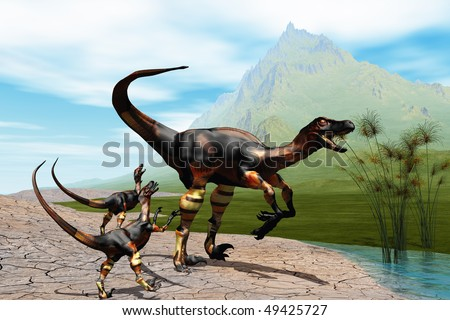 RAPTORS - Mother Raptor dinosaur with her two young babies. - stock photo
