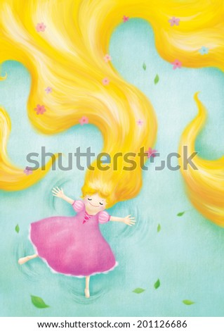 rapunzel relaxing lay down on grass illustration - stock photo
