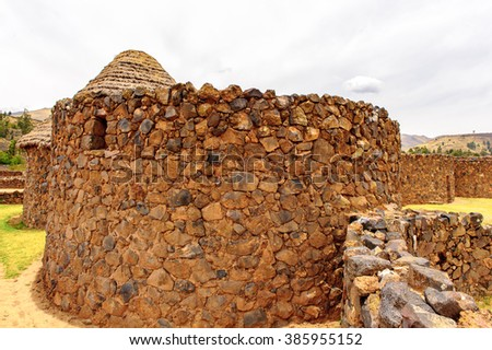 Raqchi, an Inca archaeological site in the Cusco region in Peru (Temple of Wiracocha) - stock photo