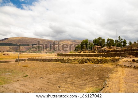 Raqchi, Inca archaeological site in Cusco, Peru (Ruin of Temple of Wiracocha) at Chacha,South America