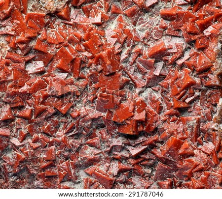 Rare red natural Fluorite crystals from Finland - stock photo