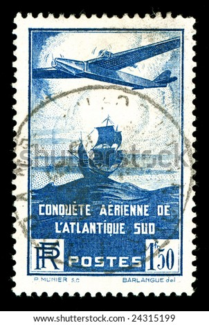 rare 1930s vintage French aircraft stamp - stock photo