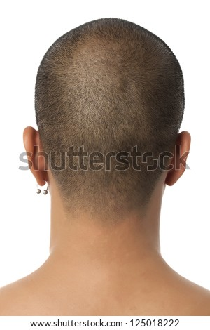 Rare view of man head against white background
