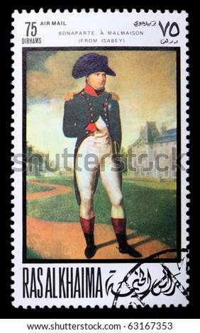 "RAS AL KHAIMA - CIRCA 1969: a stamp printed in Ras-Al-Khaima (UAE) shows a picture of artist Isabey Jean-Baptiste ""Napoleon in Malmaison"", circa 1969. Isolated on black - stock photo"