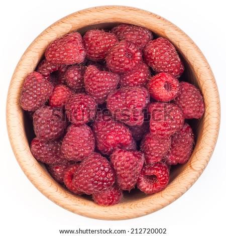 Raspberries in bowl - stock photo