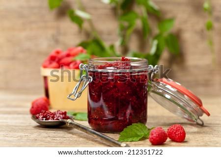 Raspberries jam. Selective focus. - stock photo