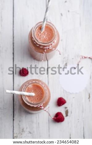 Raspberries smoothie - stock photo