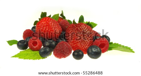 Raspberries,strawberries and blueberries isolated on white background - stock photo