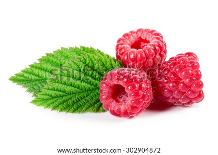 Raspberries with leaves isolated on white - stock photo