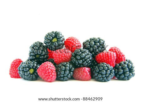 raspberry and blackberry on  white isolated background - stock photo