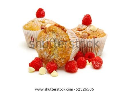 raspberry and white chocolate muffins - stock photo