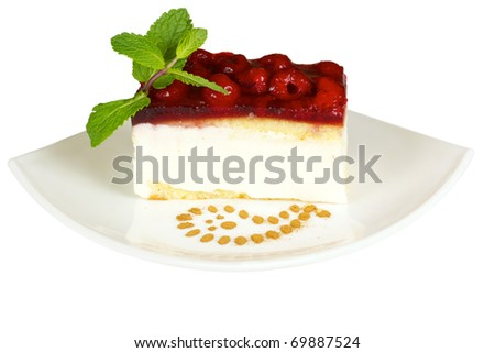 Raspberry cake on the white isolated - stock photo