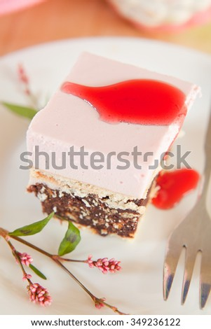 raspberry chocolate cheesecake - stock photo
