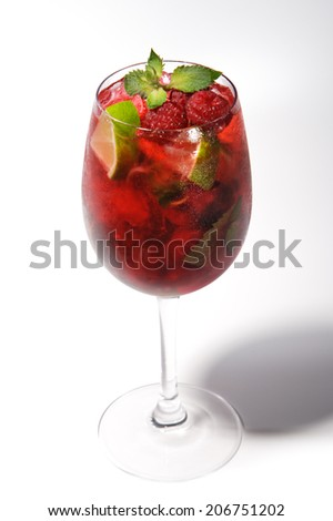 Raspberry Cocktail with Lime and Mint - stock photo