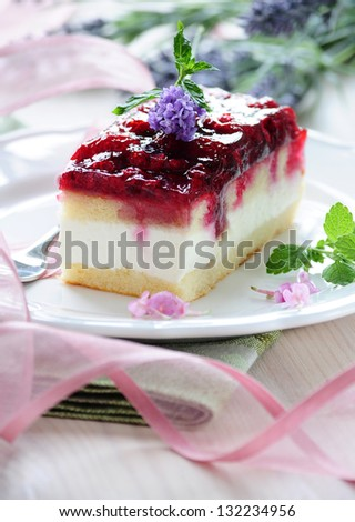 raspberry cream cake - stock photo