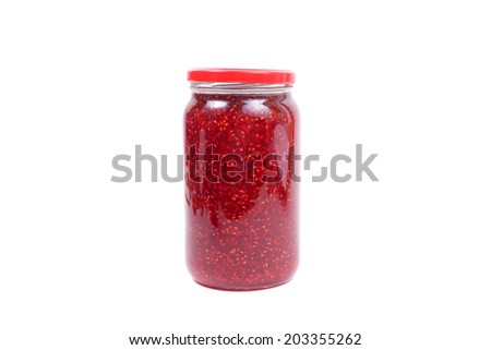 raspberry jam in jar isolated - stock photo