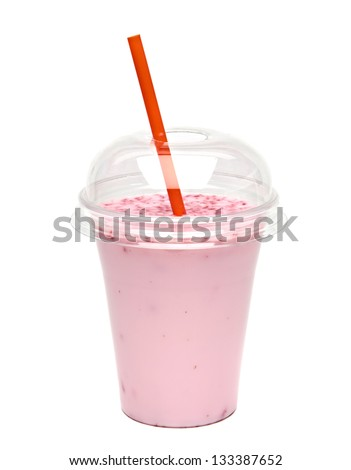 Raspberry milkshake in take away cup isolated on white background