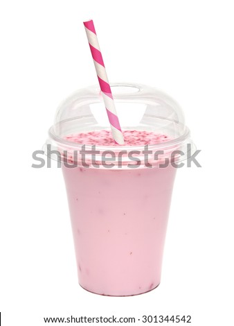 Raspberry milkshake in takeaway cup with straw on white background