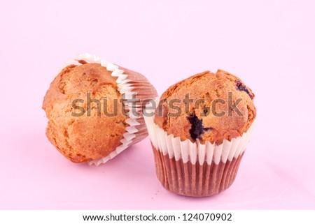 raspberry muffin - stock photo