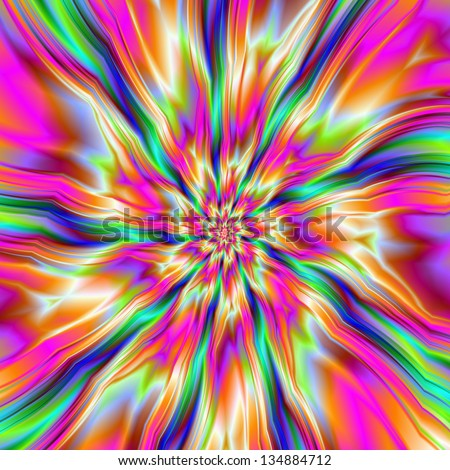 Raspberry Ripple / Digital abstract fractal image with a raspberry ripple design in pink and yellow with green and blue bits. - stock photo