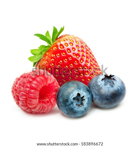 Raspberry, Strawberry and Blueberry Isolated on White Background - stock photo