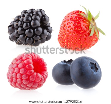 raspberry, strawberry, blueberry and blackberry - stock photo