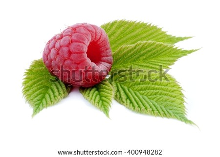 Raspberry. Sweet raspberries isolated on white background. Ripe red raspberries on white. Raspberries with green leaves.  - stock photo