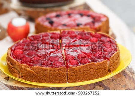 Raspberry tart dessert on the table
