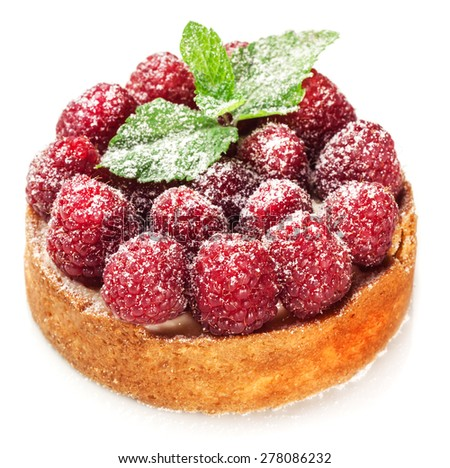 Raspberry tart isolated on a white background.