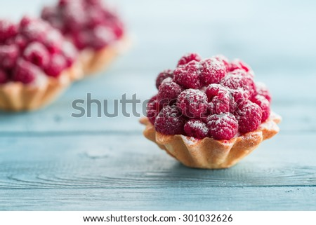 Raspberry tartlets with cream filling and dusted with icing sugar - stock photo