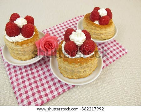 Raspberry torte from puff pastry - stock photo