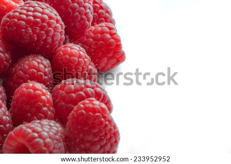 Raspberry - White Background with half side negative space - stock photo
