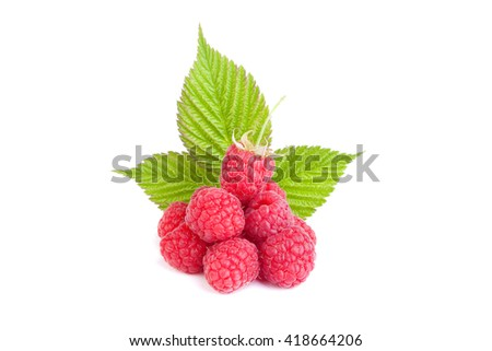 raspberry with leaf on a white background