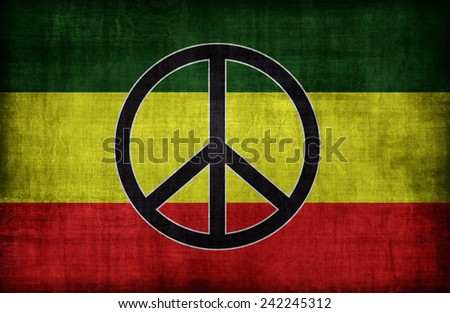 Rasta flag pattern with a peace , retro vintage style