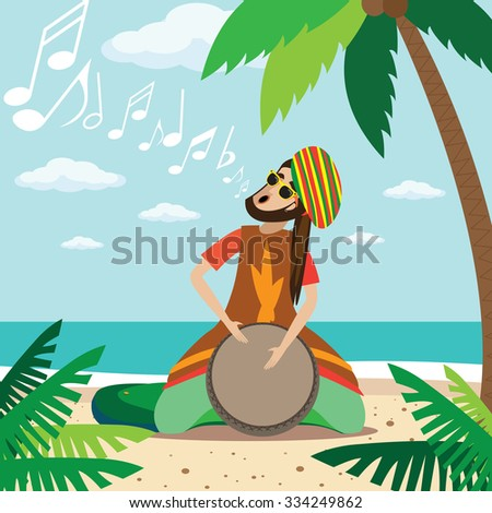 Rasta man sitting on the beach, plays on the drum and sings | raster version - stock photo