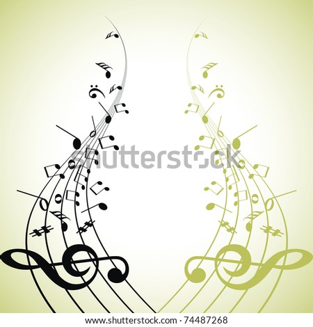 Raster abstract musical background.Music Note.